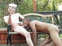 He does a talented job working over that peppery uncut cock of his gay sex outdoors