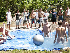 There is nothing like a nice summer time splash, especially when the pool is man made and ghetto rigged as fuck gay outdoor group sex