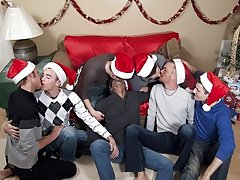 Santa is just sitting back watching the action stroking his dick, but he wants more out of these 7 risqu elves male group masturbating at Br