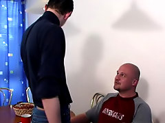 Soon it was Alex who was lying on the table with the boy's prick in motion back and forth in his touch-and-go asshole hardcore male
