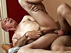 Watch the older guy's bald head impaled on the twink's pudginess uncut cock mature gay menporn