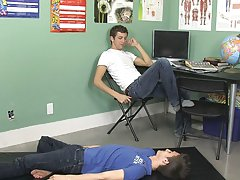They stop thinking about the yearbook when Leo sits on Levon's cock and rides him until they both cum twinks smooth gay at Teach Twinks