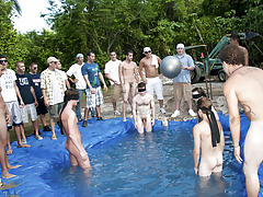 There is nothing like a nice summer time splash, especially when the pool is man made and ghetto rigged as fuck group gay shower