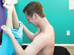 "Jackson pulls Nathan's hair and even shows his feet some love before rubbing his bare cock against Nathan's hole, ""you want this boys f"