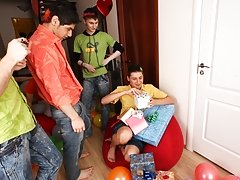 Five dicks will taste his bum free gay group sex at Crazy Party Boys