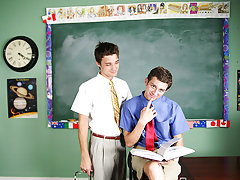 Krys Perez plays a horny professor who's curious about the size of student Levon Meeks' cock his first gay sex  com at Teach Twinks