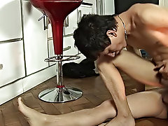 What a fancy it is to wake up in your apartment and find your twink lover almost naked, enjoying a morning draught in the kitchen gay mature men clips