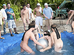 these poor pledges had to make believe blind folded in this mistake in the ground filled with water gay group sex anal