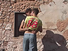Both guys were about to cum so Ryan jumped off and they rubbed their dicks together and came all over each other nude outdoors gay