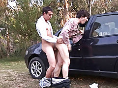 Erick and Julian make it first time outdoor male masturbation at Julian 18