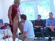 Groups of gay men having sex and gay slave...