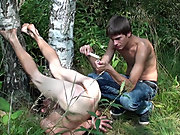 Bound and Waxed Friend gay outdoors...