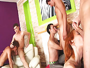 Groups of men naked in the shower and gay sex group at Crazy Party Boys