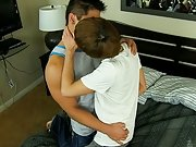 After sucking every other's cock, the marvelous muscule-stud copulates little Kyler hard until this guy cums and the intern ends up taking Spence