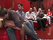 Mature gay vs twinks and playing with twinks nipples at Sausage Party