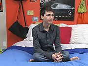 Colby London is sitting in bed giving an interview after having filmed a fuck scene gay sex black twinks