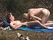 He sucked and stroked him until he was rock hard then he got on top of him and sank down on that hare meat shaft gay fuck and suck outdoor