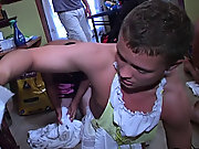 The pledges in this frat had to clean the entire frat house after a party...wearing french maid outfits group gay blowjob