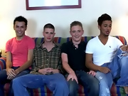 Returning to the couch they all worked on getting their hard-ons, and Nathan even asked Ricky to spit in his hand to jerk off with it gay interracial