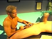 Muscular stud pumping cock gets messy cum